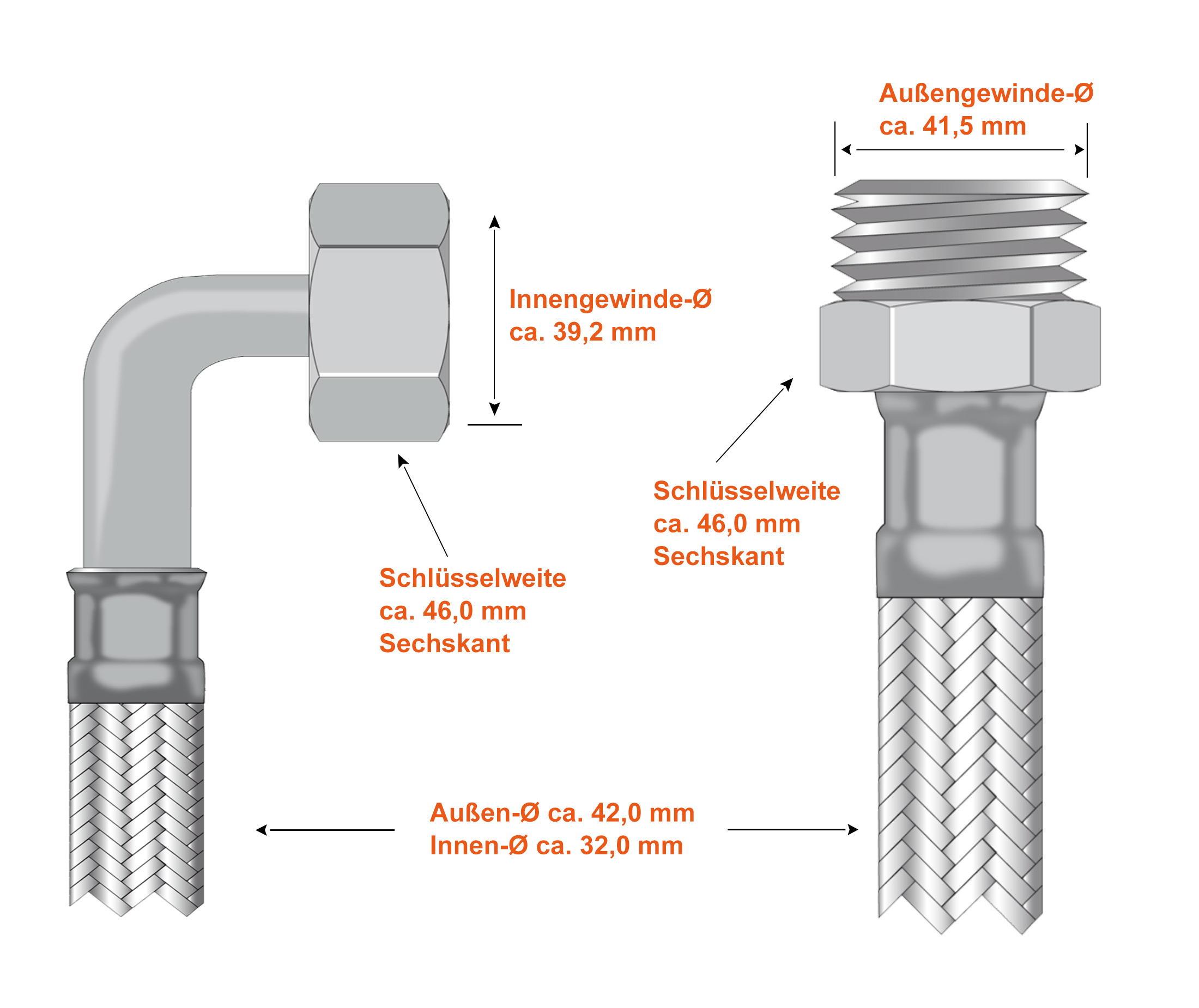 Panzerschlauch DN32-90° Bogen Flexschlauch Metallschlauch Sanitär  1.1//4 Zoll